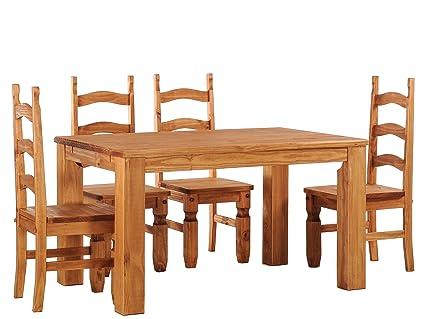 Brasilmöbel Esstisch Rio Classico 150x90 cm + 4 x Stuhl Rio Mexiko Farbton Honig