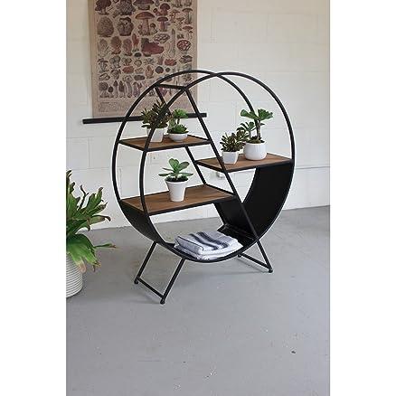 Legno Dekor Open display rack in ferro e legno, Sheesham naturale e struttura in ferro colore nero, 90x 28x 105cms