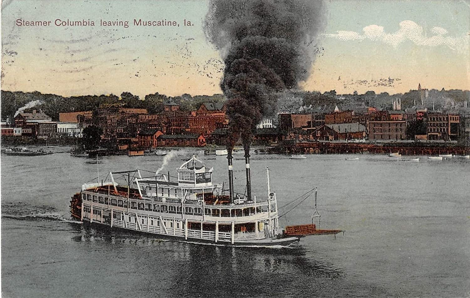 Steamer Columbia leaving Muscatine, Iowa