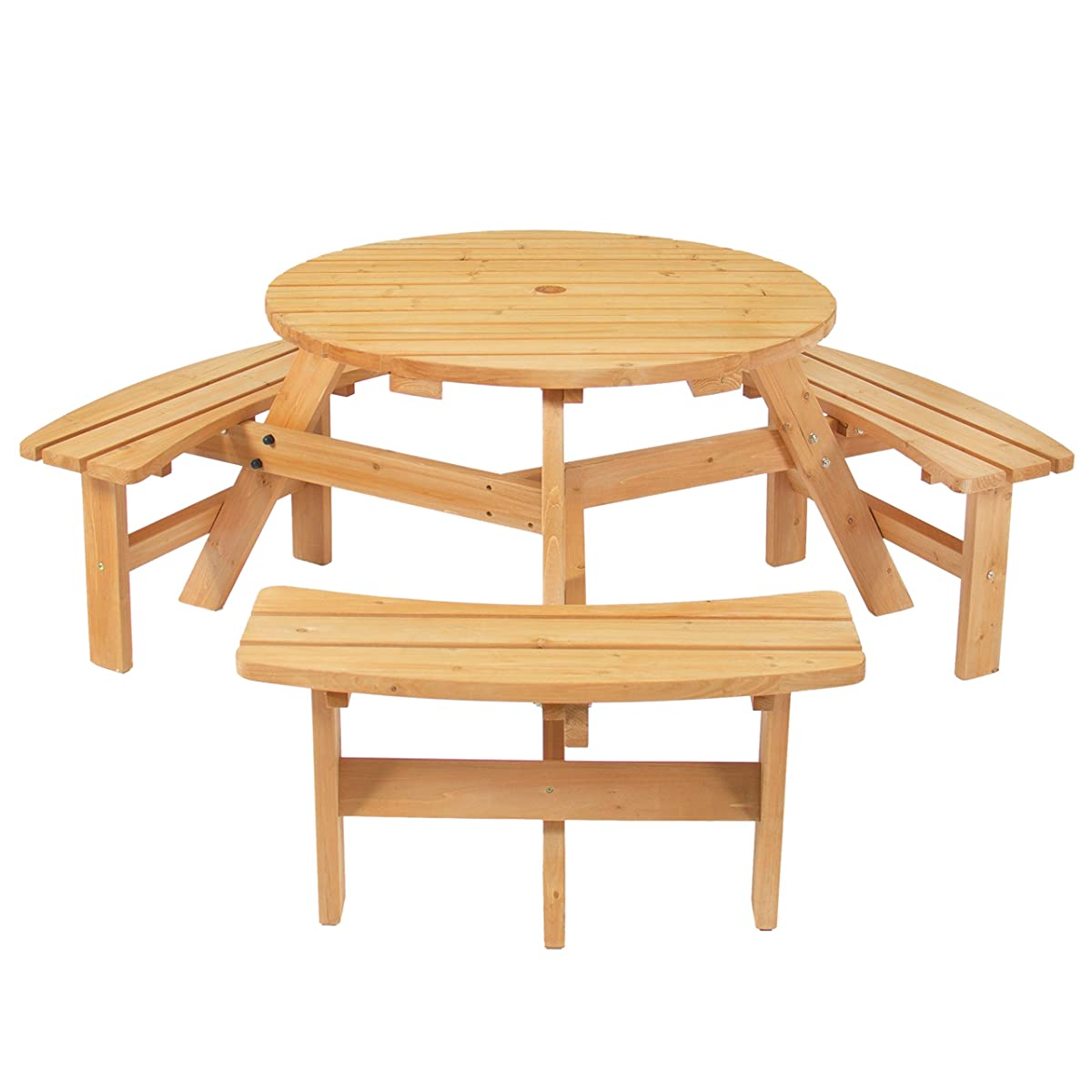 Best Choice Products Outdoor 6 Person Wood Picnic Table Set Natural Finish