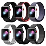HILIMNY Compatible with for Apple Watch Band 44mm, Soft Nylon Sport Loop, Band Compatible with for iwatch Series 4, Series 3, Series 2, Series 1 (44mm, 6 Pack) (Color: Z-Pack of 6(1-color as picture), Tamaño: 44mm)