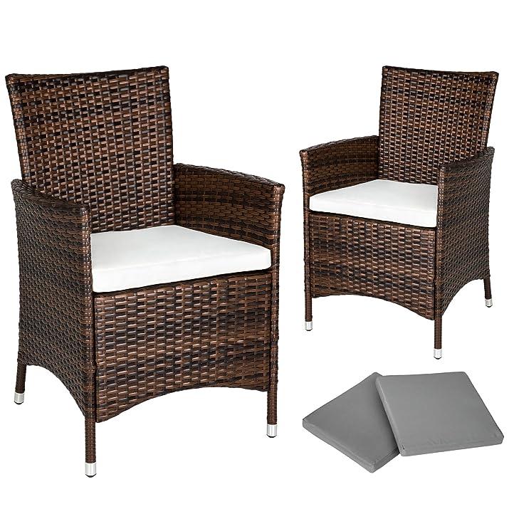 TecTake 2 Pezzi Sedie da esterno Sedia da Giardino poli rattan ALU poltrona set Telaio in alluminio + 2 Set di rivestimenti per cuscini, viti in acciaio inox marrone