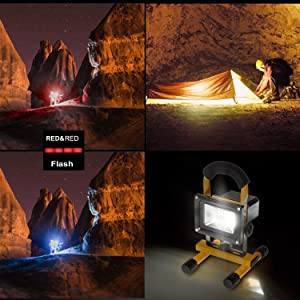 Portable LED Light - Vaincre Outdoor Camping Lights 15W 24 LED Spotlights Work Lights with Magnet Base - Built-in Rechargeable Lithium Batteries with Dual USB Port to Charge Mobile Devices (Yellow) (Color: Yellow With Magnetic Stand)
