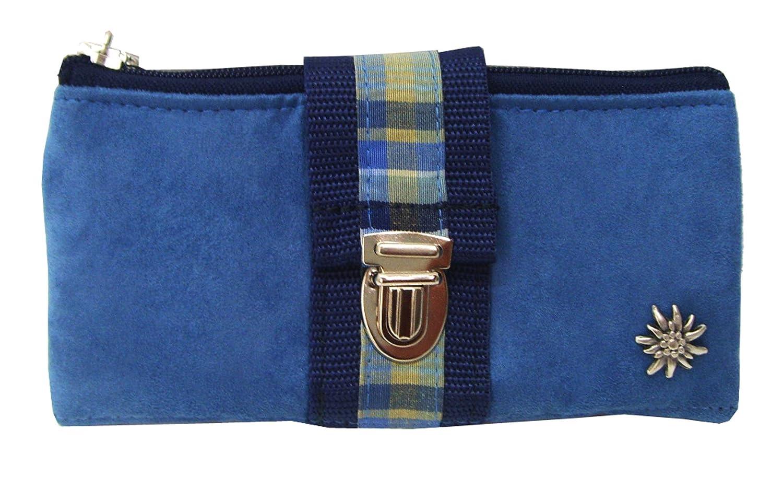 Geldbörse Portemonnaie lang mit Reißverschluss blau mit Karobordüre und Edelweiss jetzt bestellen