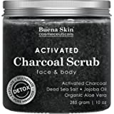Activated Charcoal Scrub by Buena Skin   Deep Cleanser, Pore Minimizer & Reduces Wrinkles, Blackheads, Acne Scars, Anti Cellulite Treatment - Great for Face & Body 10 oz. (Tamaño: 10 Ounces)