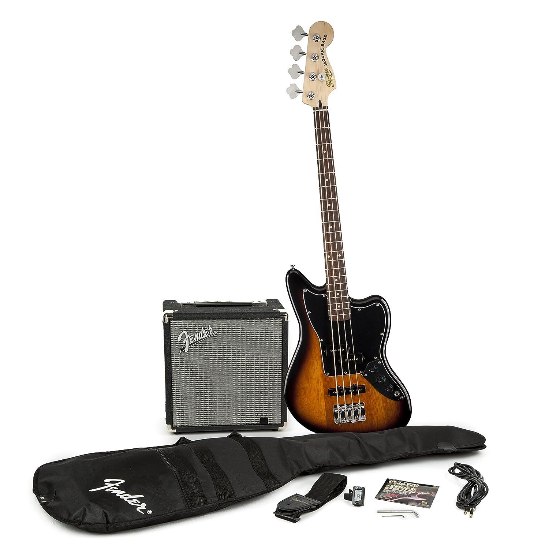 Fender 301680032 Squier Jaguar Short Scale Bass Guitar Pack, Sunburst fender squier jim root telecaster flat white