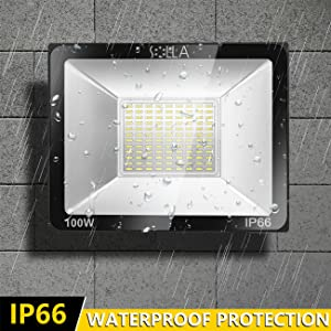 2 Pack SOLLA 100W LED Flood Light, IP66 Waterproof, 8000lm, 550W Equivalent, Super Bright Outdoor Security Lights, 6000K Daylight White, Outdoor Floodlight for Garage, Garden, Lawn and Yard (Color: 6000k Daylight White, Tamaño: 100w-2 Pack)
