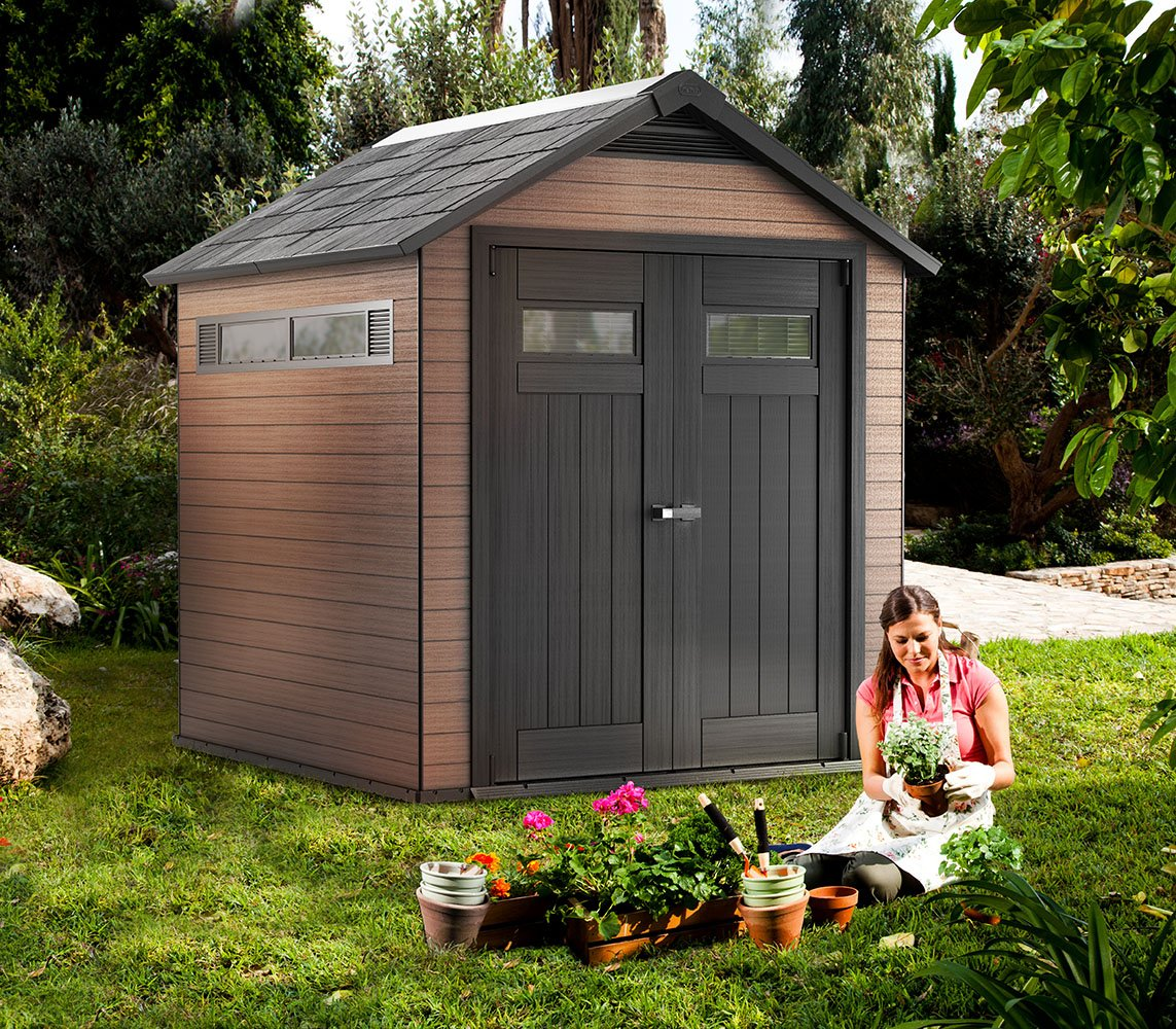 Keter Fusion 7.5 ft. x 7.3 ft. Wood and Plastic Composite Outdoor Storage Shed, Mahogany
