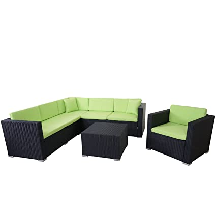 Poly-Rattan-Garnitur ROM Basic, Sofa Sessel Lounge-Set, Alu ~ anthrazit, Kissen grun