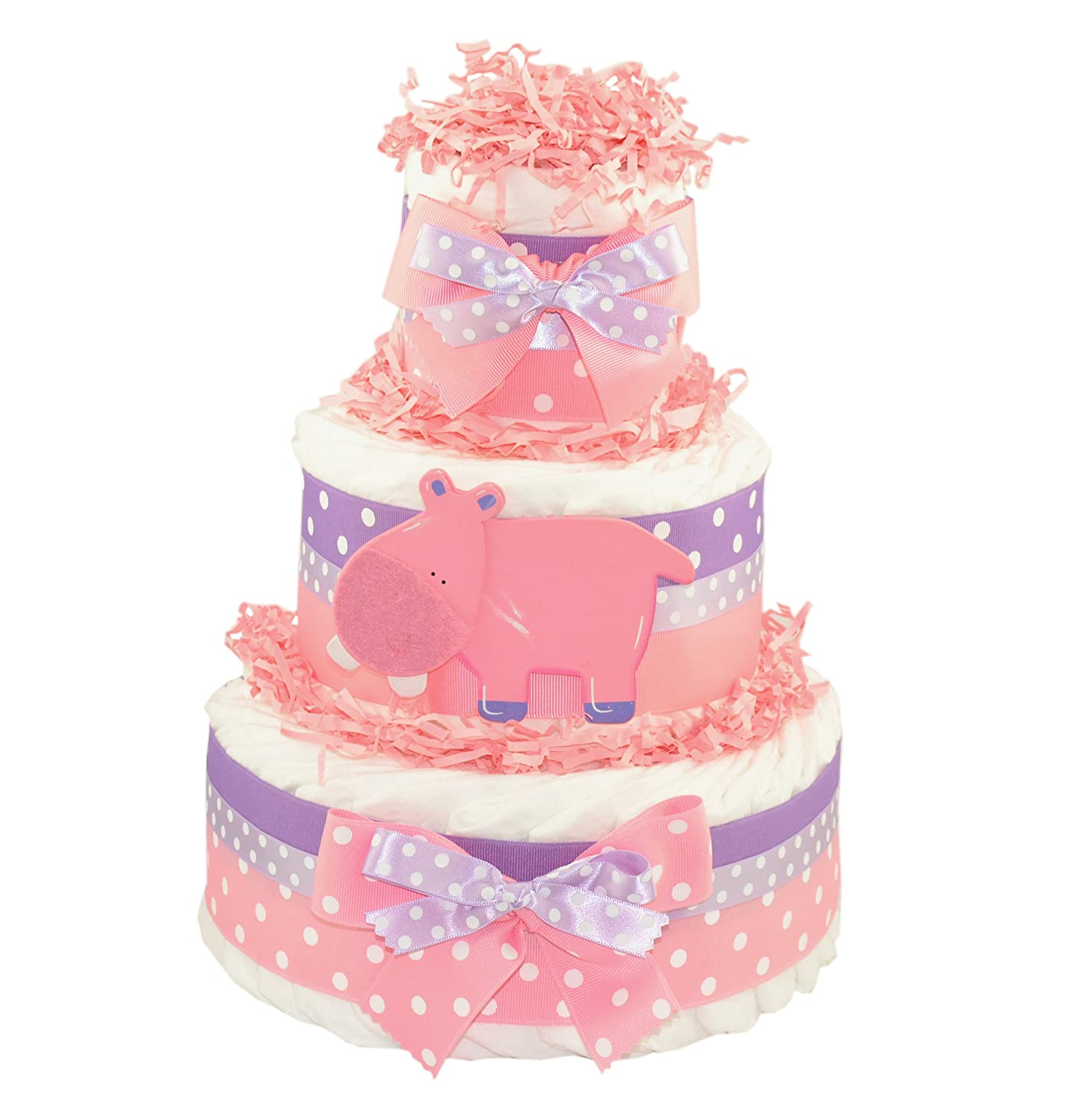 Pink Hippo Diaper Cake | Baby Shower Centerpiece