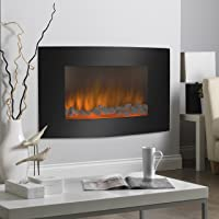 Large 1500W Adjustable Electric Wall Mount Fireplace Heater with Glass XL