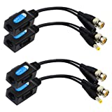 CGTime Balun HD Cat5 RJ45 to BNC Video Baluns transceiver Passive with Power Connector for 720P 1080P 3MP 4MP 5MP HD-CVI/TVI/AHD/CVBS/960H Camera(2 Pairs)