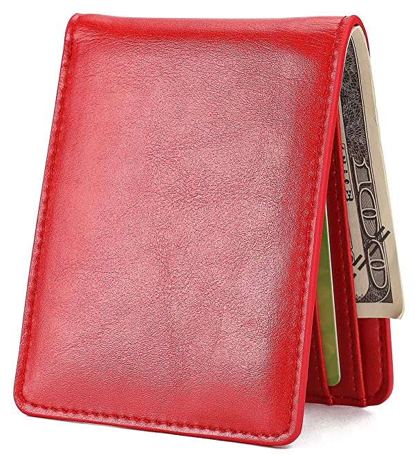 Mens Slim Front Pocket Wallet ID Window Card Case with RFID Blocking - Red (Color: 23 Red, Tamaño: Small)