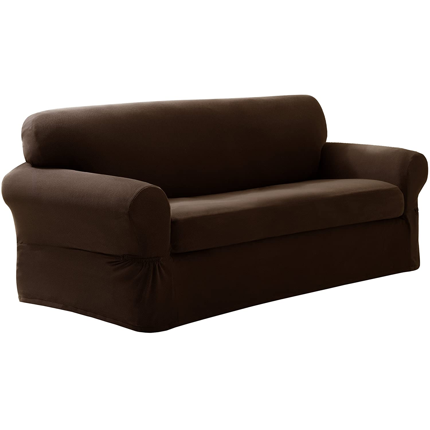 Maytex Pixel Stretch 2 Piece Slipcover Sofa Chocolate New Free Shipping