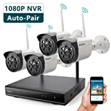 ONWOTE 1080P HD NVR Outdoor Wireless Home Security Camera System WiFi with 4 960P HD 1.3 Megapixel Night Vision IP Surveillance Cameras, NO Hard Drive (Built-in Router, Auto Pair, Motion Alert) (Color: 4 960P HD Camera Kit without HDD)