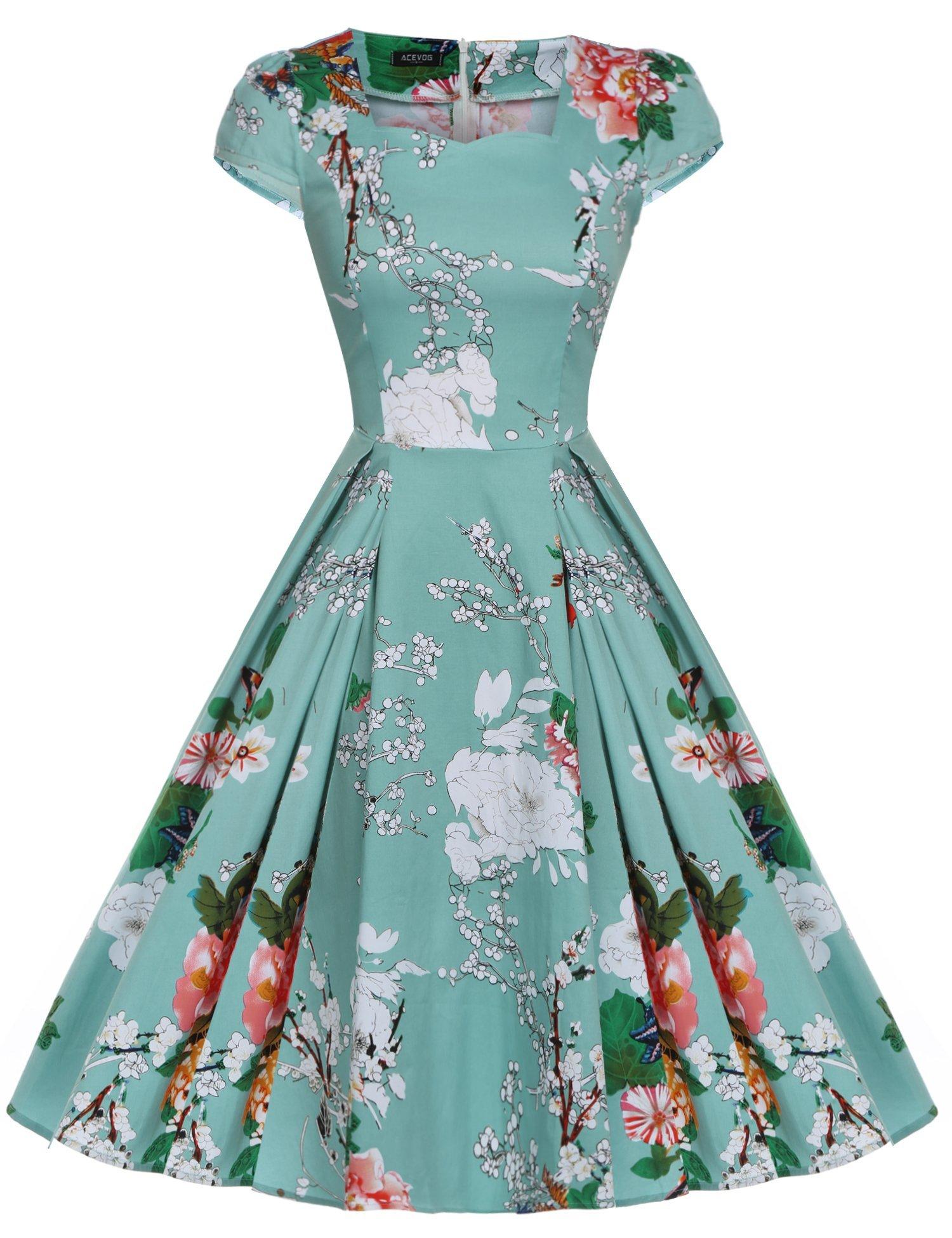 Acevog Women S 1950s Cap Sleeve Swing Vintage Floral Party