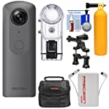 Ricoh Theta V 360-Degree Spherical 4K HD Digital Camera with TW-1 Underwater Housing + Case + Buoy Handle + Bike Mount + Power Bank + Kit