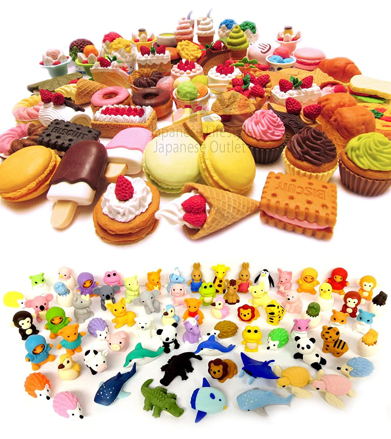 Iwako Erasers Pack Of 30 Assorted Collection 15 Animals