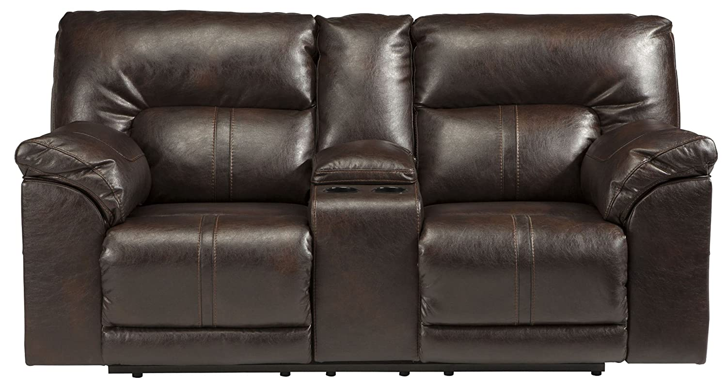 Ashley Barrettsville Power Reclining Console Loveseat in Chocolate