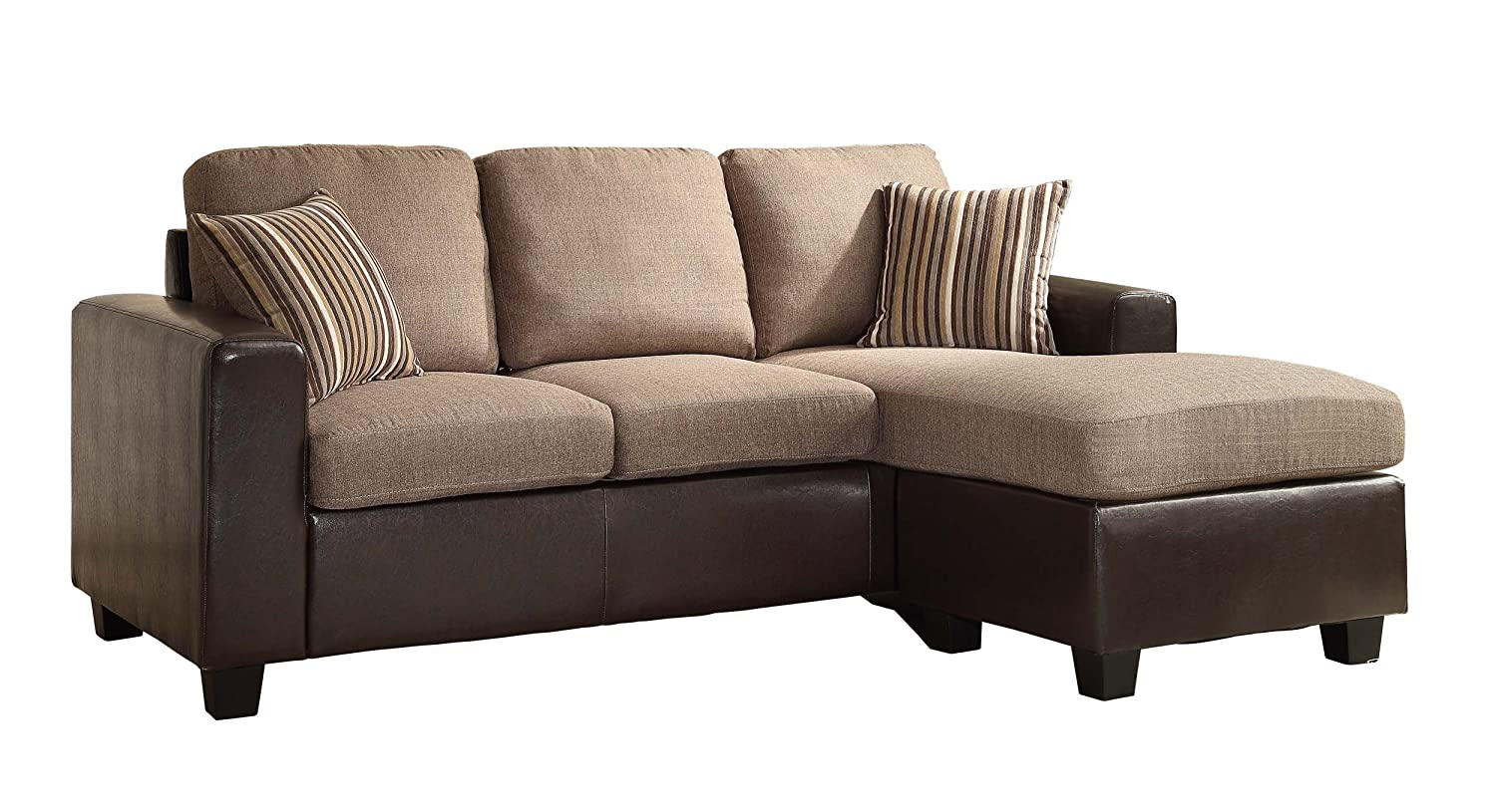 Homelegance 8401-3SC Reversible Sofa Chaise with 2 Pillows - Brown Linen-Like Fabric and Bi-Cast Vinyl