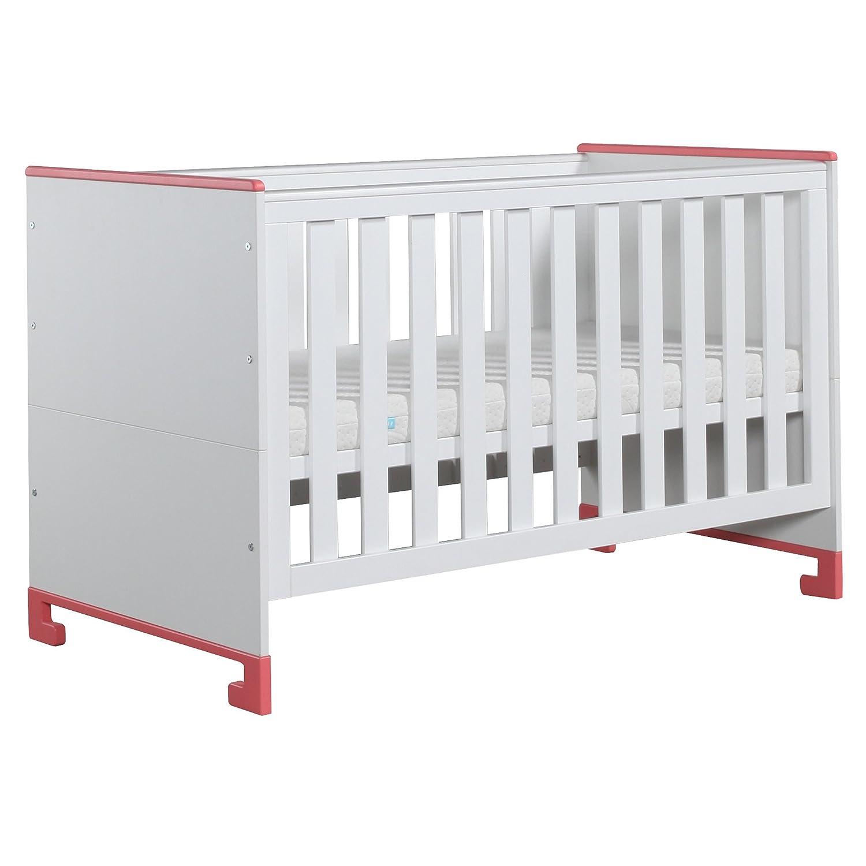 Kinder Bett Babybett Kinderzimmer Babyzimmer Bett Tagesbett TOTO 140×70 (weiß rosa)