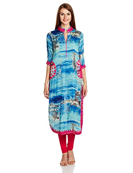IndusDiva Straight Cut Tie and Dye Printed Kurta at amazon