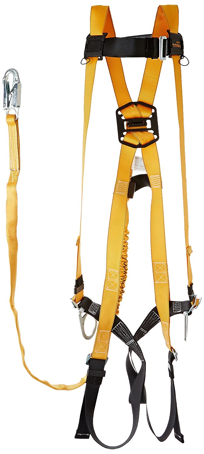 Miller Titan by Honeywell TK4751/XXL/6FTAK 6-Feet Harness/Shock-Absorbing Lanyard Combos, XX-Large miller titan by honeywell ac qc xsbl aircore full body harness x small blue