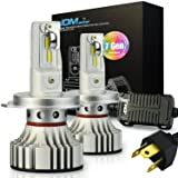 JDM ASTAR Newest Version No Dark Spot Design 7th Generation 8000 Lumens Extremely Bright H4 9003 LED Headlight Bulbs Conversion Kit, Xenon White- Adjustable Light Angel Not Blinding On Coming Driver