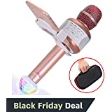 Wireless Bluetooth Karaoke Microphone – Portable KTV Karaoke Machine with Speaker + FREE USB Disco Ball Light & Phone Holder Perfect for Pop, Rock n' Roll Parties, Solo Parties & More (E106 2.0 Pink)