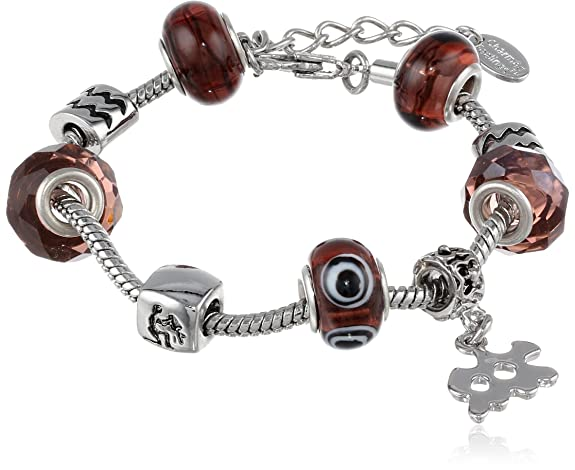 Aquarius Murano Style Glass Beads and Charm Bracelet