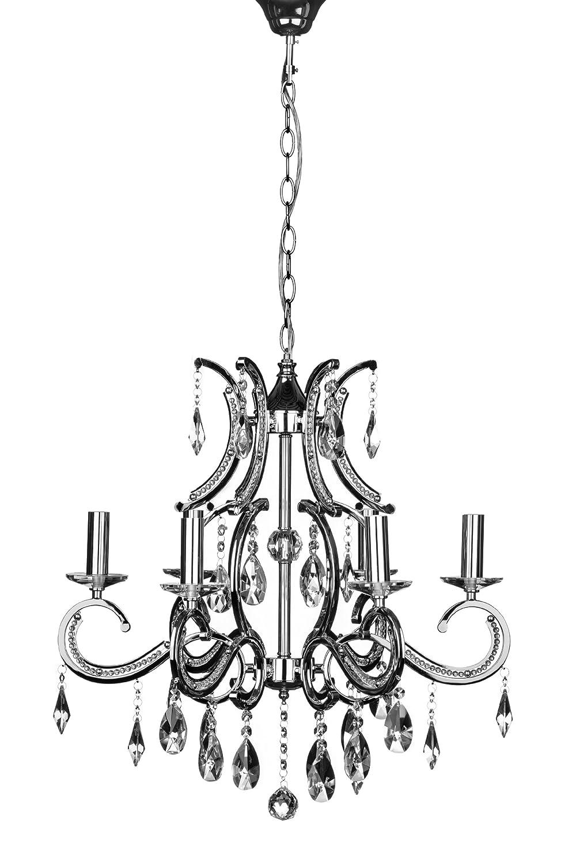 Premier Housewares Kronleuchter Cassandra, 6-armig, E14, mit kleiner Edison-Schraube, 40W, Chrome / Kristalle