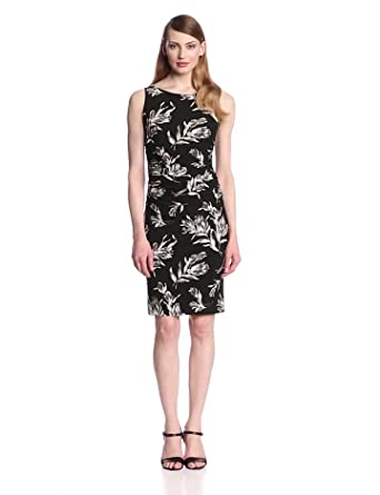 KAMALIKULTURE Women's Sleeveless Shirred Waist Dress, Black Vintage Rose, Large