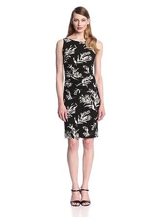 KAMALIKULTURE Women's Sleeveless Shirred Waist Dress, Black Vintage Rose, X-Small