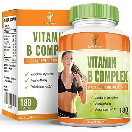Vitamin B Komplex, Hoch Potentes Nahrungsergänzungsmittel, Enthält Vitamin B1, B2, B3, B5, B6, B12, Vtamin H & Folsäure, Steigert Energie & Wirkt Gegen Mudigkeit, 6-Monats-Vorrat - 180 Tabletten
