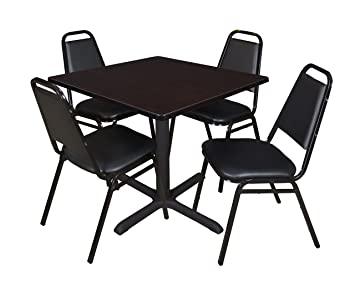 Regency Seating 36-Inch Square Mocha Walnut Laminate Table with Cain Base and 4 Black Restaurant Chairs
