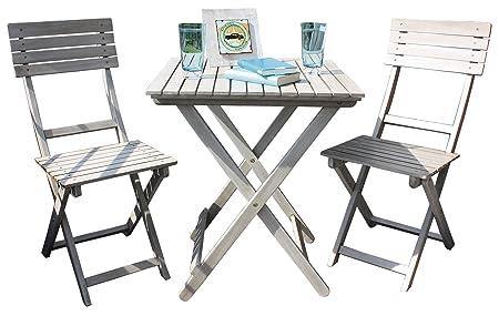 Set per balcone Vienna Grey Washed legno d' acacia Mobili da giardino 2sedie 1tavolo sedie da giardino e tavolo Set