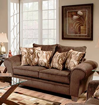 Chelsea Home Furniture Jewel Loveseat, Envy Godiva/Provocative Brown