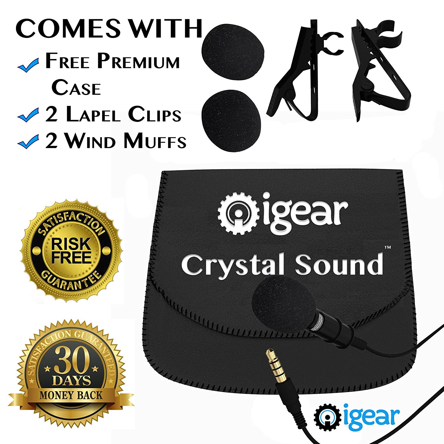 iGear Best Premium Clip-on Lavalier Lapel Omnidirectional Condenser Microphone for Youtube, Interview, Apple Iphone Android & Windows Smartphones. Tiny Microphone comes with FREE Case & Extra Goodies