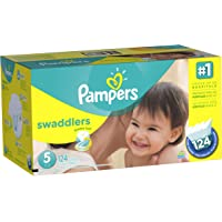 Pampers Swaddlers Diapers Economy Pack Plus, Size 5 (124 Count)