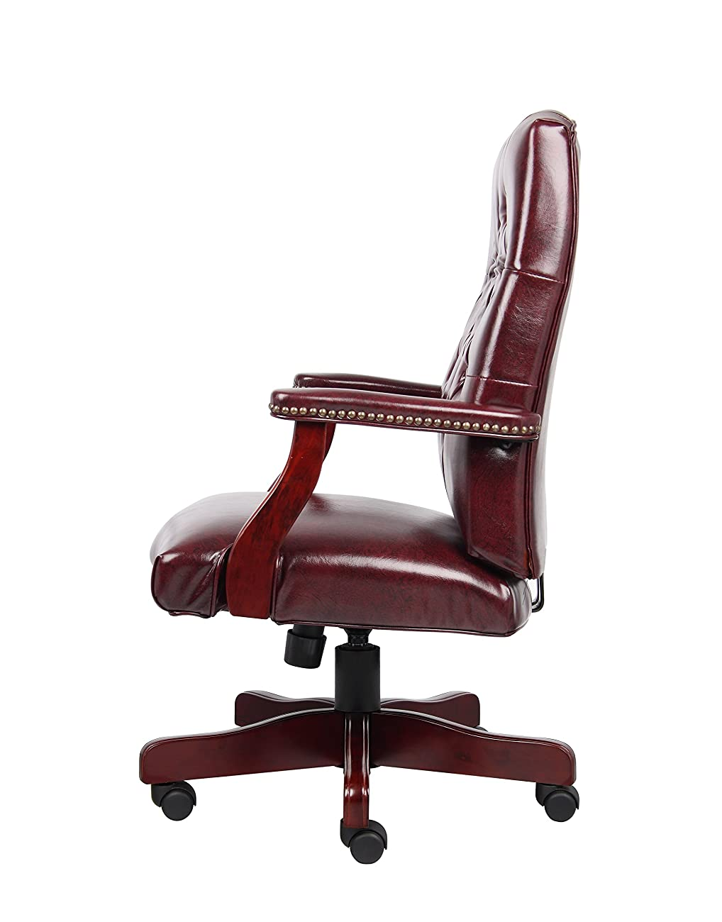 Boss Office Products B905-BY Classic Executive Caressoft Chair with Mahogany Finish in Burgundy 3