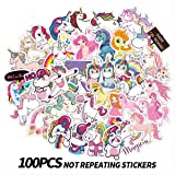 ZUIYIJIANGNAN Dream of Unicorns Stickers Girl Stickers Cute Laptop Stickers (100PCS) Pack Vinyl Waterproof Motorcycle Luggage Bycircle Water Bottle Skateboards Snowboard Decals(Unicorn 100) (Tamaño: F)