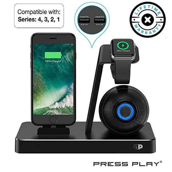 ONE Dock (Apple Certified) Power Station Dock, Stand & Built-in Lightning Connector for Apple Watch Smart Watch (Series 1,2,3,4 Nike+), iPhone, iPad & iPod (Dock + Speaker (Black)) (Color: Dock + Speaker (Black))