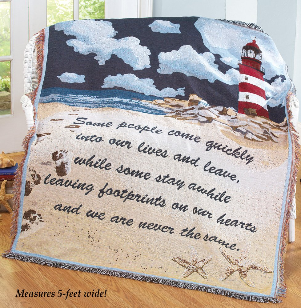 Nautical Footprints On The Heart Tapestry Throw