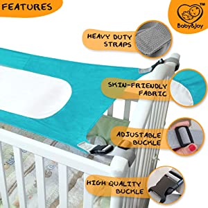 Infant Safety Hammock Heavy Duty /& Adjustable Straps Mimics Mothers Womb Newborn Infant Nursery Bed by Baby/&Joy Baby Hammock for Crib Ultra Soft Fabric with Reinforced Net