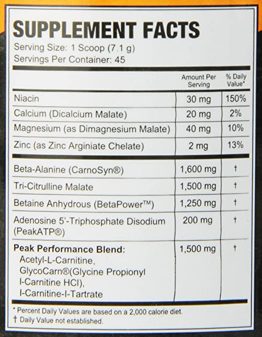 HIT Supplements Peak Perform Pre Workout - Ingredients