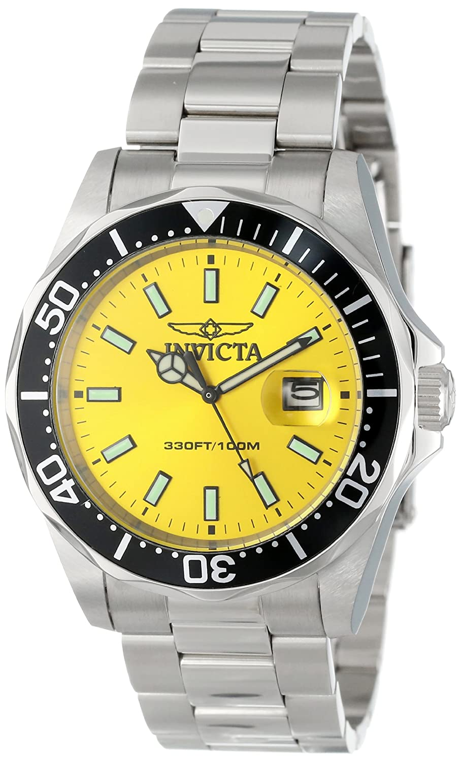 Invicta Men's 15447 Pro Diver Yellow Dial Stainless Steel Watch