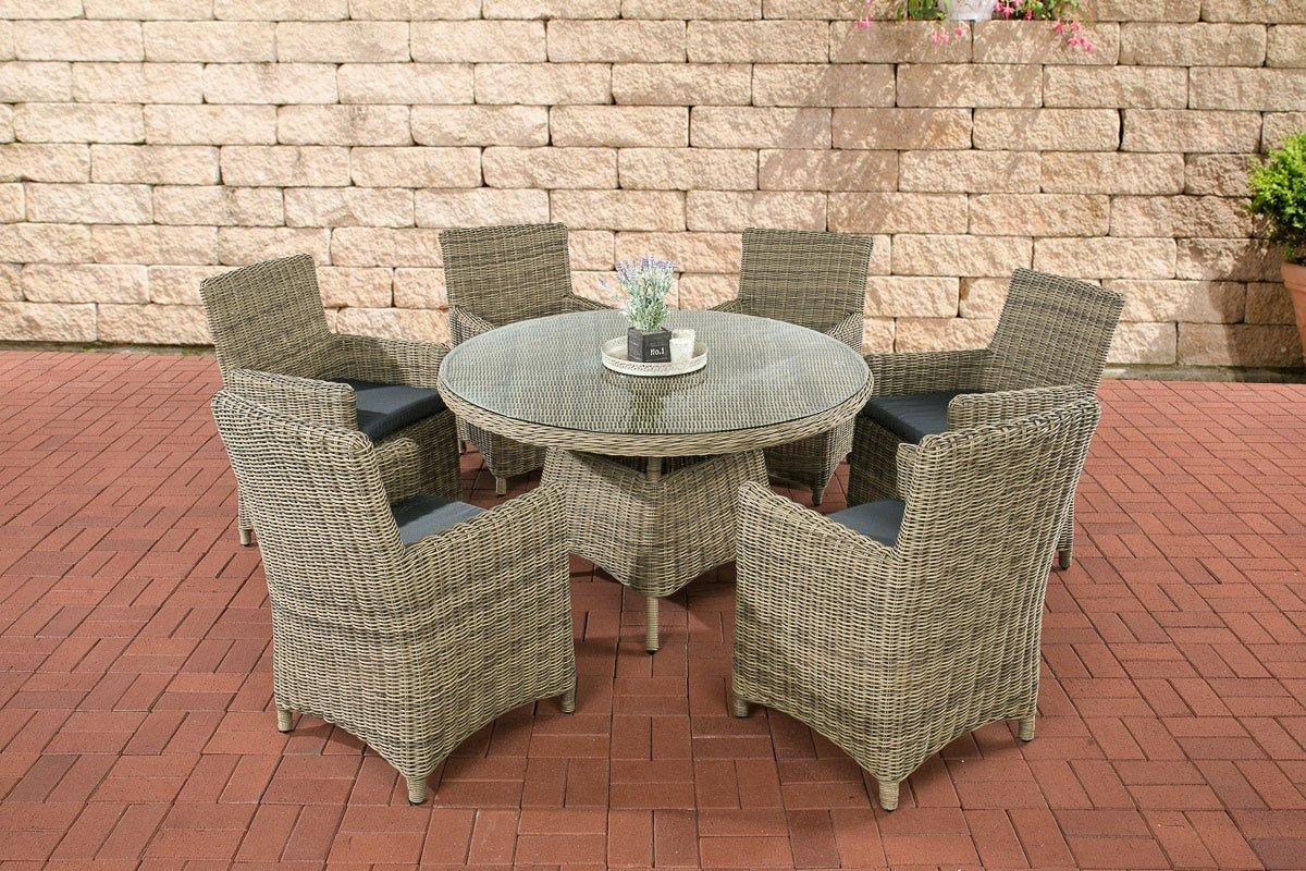 CLP Polyrattan Sitzgruppe LARINO natura (6 Sessel + Tisch 130x130 cm) INKL. bequeme Sitzkissen, Premiumqualität: 5mm Rund-Rattan natura, Bezugfarbe eisengrau
