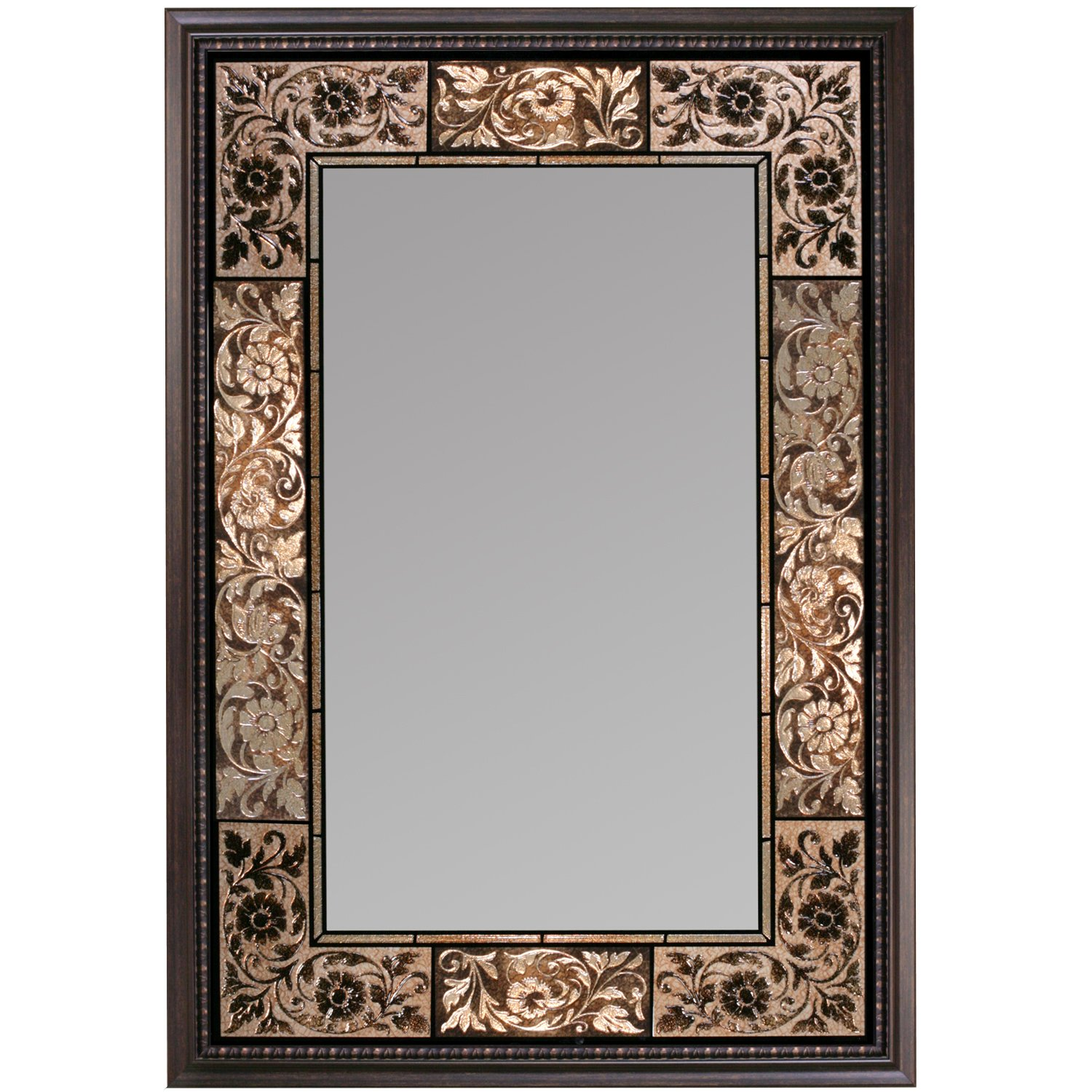 Vanity Mirrors Wall Mounted French Tile Dark Traditional