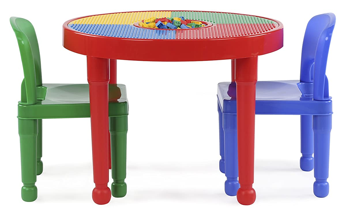 Tot Tutors Kids 2-in-1 Plastic LEGO-Compatible Activity Table and 2 Chairs Set, Primary Colors