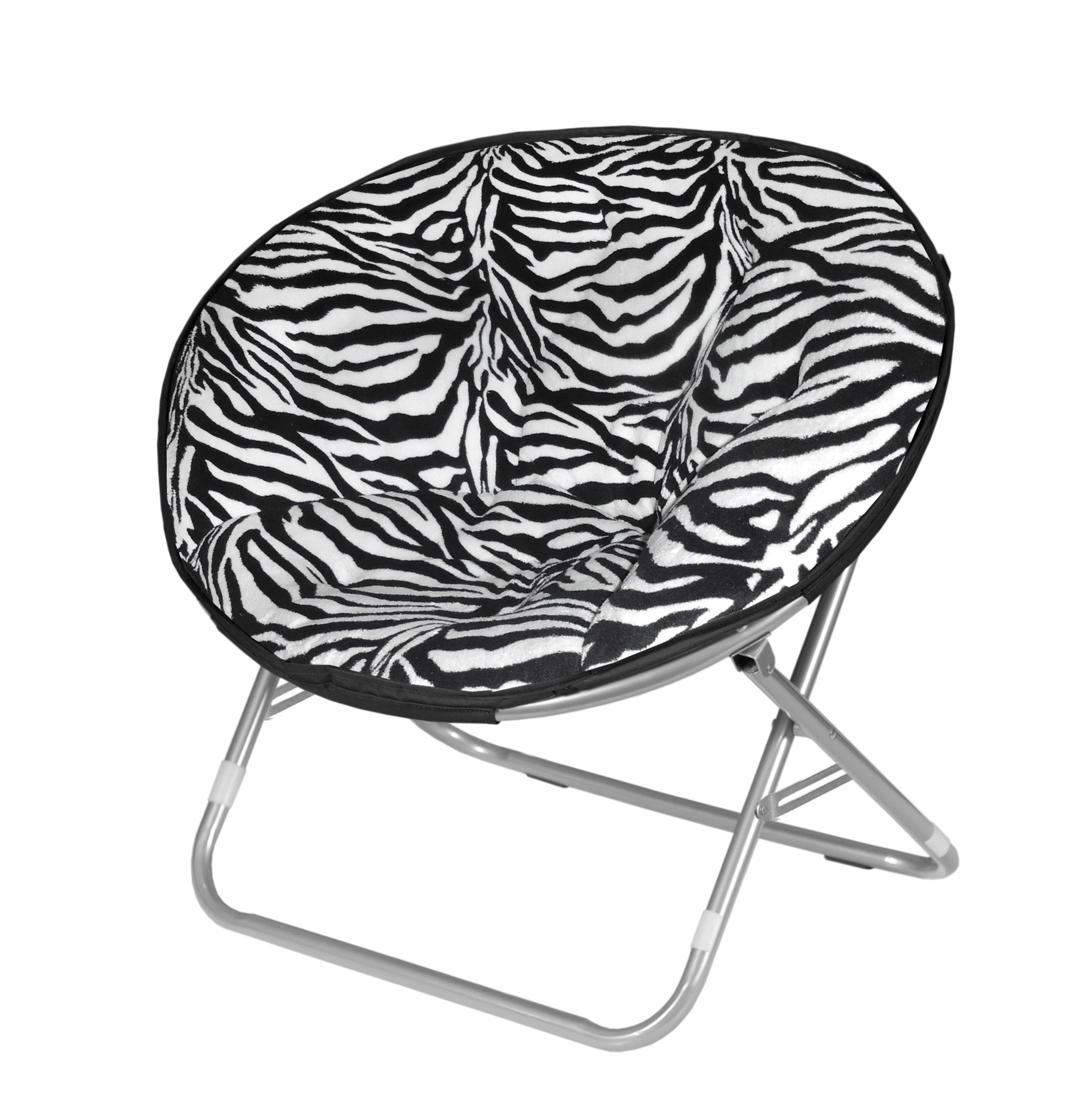 Microplush Folding Saucer Chair Zebra Print